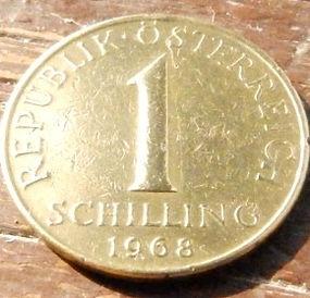 1 Шиллинг,1968 года,Австрия,Монета, Монети,Osterreich, 1 Shilling1968, Austria,Австрія, Флора,Квітка, Цветок на монете,Flower on the coin.
