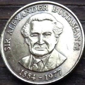 1 Доллар, 1993 года, Ямайка, Монета, Монеты, 1 One Dollar 1993, Jamaica,Coat of arms ofJamaica, Герб Ямайкина монете, Alexander Bustamante,АлександрБустамантена монете.