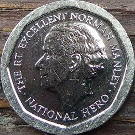 5 Долларов, 1996 года, Ямайка, Монета, Монеты, 5 Five Dollars 1996, Jamaica,Coat of arms ofJamaica, Герб Ямайкина монете, Norman Manley,Норман Менлина монете.