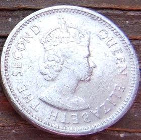 5 Центов, 1980 года,Белиз, Монета, Монеты, 5 Cents 1980,Belize, Королева Elizabeth II, Елизавета IIна монете, Второй портрет королевы.