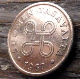 5 Пенни, 1967 года, Финляндия, Монета, Монеты, 5 Pennia 1967, Suomen Tasavalta,Suomi, Finland,Об'єднані чотири петлі,Объединены четыре петли на монете.