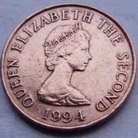 1 Пенни, 1994 года, Джерси, Монета, Монеты, 1 OnePenny 1994, Jersey,Вежа,Tower,Башняна монете,Королева Elizabeth II, Елизавета IIна монете, Второй портрет королевы.