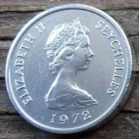 1 Цент, 1972 года, Сейшельские Острова, Монета, Монеты, 1 One Cent 1972, Seychelles, FAO, ФАО,Fauna, Cow head, Фауна, Голова коровына монете, Королева Elizabeth II, Елизавета IIна монете, Второй портрет королевы.