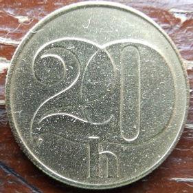 20 Геллеров, 1991 года,Чехословакия,Монета, Монеты,20 Hellers1991, CSFR,Coat of Arms, Гербна монете.