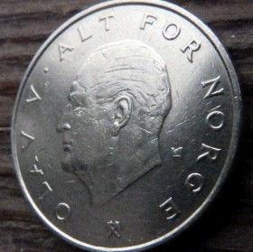 1 Крона, 1977года, Норвегия, Монета, Монеты, 1 Krone 1977, Norge, Crown, Коронана монете,Король ОлафV на монете.