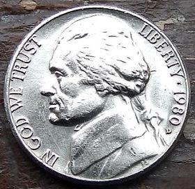 5 Центов, 1980 года,Соединенные Штаты Америки, Монета, Монеты, 5 Five Cents 1980,The United States of America,Monticello, Имение Монтичеллона монете, President Thomas Jefferson, Президент Томас Джефферсонна монете.