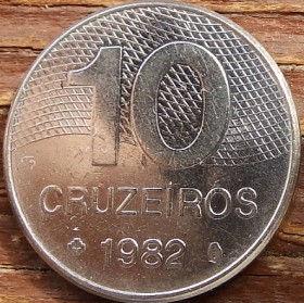 10 Крузейро,1982 года, Бразилия, Монета, Монеты, 10 Cruzeiros 1982, Brasil, Контури території Бразилії,Outlines of the territory of Brazil,Контуры территории Бразилиина монете.