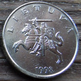 1 Лит, 1998 года, Литва, Монета, Монеты, 1 Litas 1998, Lietuva, Coat of Arms,Герб,Воїн на коні,Warrior on horseback,Воин на конена монете.