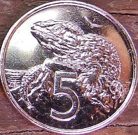 5 Центов, 2003 года,Новая Зеландия, Монета, Монеты, 5Cents2003, New Zealand,Sphenodon,Гаттерия на монете, Королева Elizabeth II, Елизавета IIна монете, Четвертый портрет королевы.