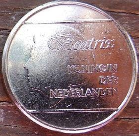 1 Флорин, 1999 года, Аруба, Монета, Монеты, 1 Florin 1999, Aruba,Coat of arms of Aruba,Герб Арубына монете,Королева Beatrix,Беатриксна монете.