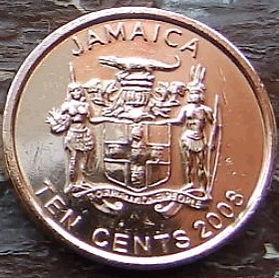 10 Центов, 2008 года, Ямайка, Монета, Монеты, 10 Ten Cents 2008, Jamaica,Coat of arms ofJamaica, Герб Ямайкина монете, Paul Bogle,Поль Боглена монете.