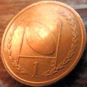 1 Пенни, 1998 года, Остров Мэн, Монета, Монеты, 1 OnePenny 1998, Isle of Man,Рослинний орнамент,растительный орнамент,floral ornament,М'яч для регбі,Rugby ball,Мяч для регбина монете,Королева Elizabeth II, Елизавета IIна монете, Четвертыйпортрет королевы.