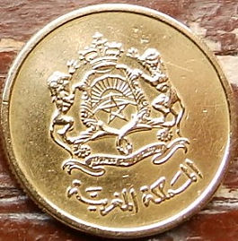 10 Сантимов, 2002 года, Марокко,Монета, Монеты, 10 Centimes2002,Morocco,Coatof arms of Morocco,Герб Мароккона монете.