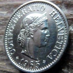 10 Раппен,1965 года, Швейцария,Монета, Монети,10 Rappens1965, Confederatio Helvetica, Швейцарія, Switzerland,Рослинний орнамент, Растительныйорнамент,Floral ornamentна монете, Дівчина, Girl, Девушка на монете.