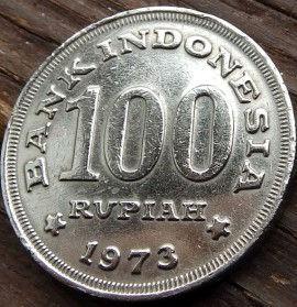 100 Рупий, 1973 года, Индонезия, Монета, Монеты, 100 Rupiah 1973, Republik Indonesia, Дерев'яний будинок в тропіках, Wooden house in the tropics, Деревянный дом в тропиках на монете.