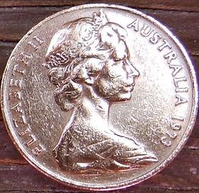 2 Цента, 1973 года,Австралия, Монета, Монеты, 2Cents1973, Australia,Frilled Lizard,Плащеносная ящерица на монете, Королева Elizabeth II, Елизавета IIна монете, Второй портрет королевы.