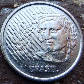 50 Сентаво,1994 года, Бразилия, Монета, Монеты, 50 Centavos 1994, Brasil,Обличчя людини,Human face,Лицо человека на монете.