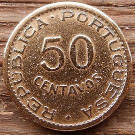 50 Сентаво, 1953 года, Мозамбик,Монета, Монеты, 50 Centavos 1953, Mocambique,Coat of arms of Portuguese Mozambique,Герб Португальского Мозамбикана монете.