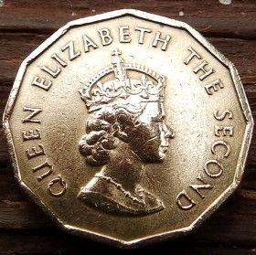 1/4 Шиллинга, 1964 года, Джерси, Монета, Монеты, One Fourth of a Shilling 1964, Jersey,Coat of Arms,Герб,Fauna, Фауна,Lions, Львы на монете,Королева Elizabeth II, Елизавета IIна монете, Второй портрет королевы, 12 - угольная монета.
