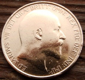 1 Пенни, 1906 года,Великобритания, Монета, Монеты, One Penny 1906, Море, Sea, Жінка воїн,Woman warrior, Женщина воин на монете, КорольЕдуард VII,Edwardvs VII,ЭдуардVII на монете.
