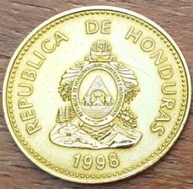 5 Сентаво, 1998 года,Гондурас, Монета, Монеты, 5 Cinco Centavos 1998,Republica de Honduras,Рослинний орнамент,Floral ornament,Растительный орнамент на монете, Coat of arms ofHonduras,ГербГондурасана монете.