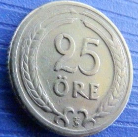 25 Эре, 1947года, Швеция, Монета, Монеты, 25 Ore 1947, Sverige, Sweden,Spikelets, Колоски на монете, Crown,Корона,Monogram, ВензельКороляГустава V на монете.
