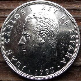 25 Песет, 1983 года, Испания, Монета, Монеты, 25Pesetas 1983, Espana,Spain,Корона, Crown на монете,КорольХуан Карлос I на монете.