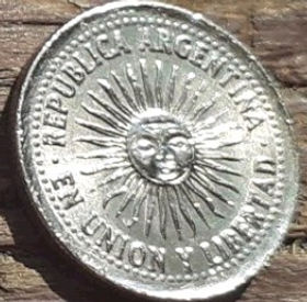 5 Сентаво, 1994 года, Аргентина, Монета, Монеты, 5 Centavos 1994, Republica Argentina,Сонце, Sun, Солнце на монете.