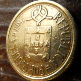 5 Эскудо, 1987 года, Португалия, Монета, Монеты, 5 Escudos 1987, Republica Portuguesa,Portugal, Квітковий орнамент,Цветочный орнамент,floral ornament на монете,Coat of Arms,Герб,Вітрильний вузол,Sailing knot, Парусный узелна монете.