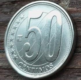 50 Сентимов,2007 года, Венесуэла, Монета, Монеты, 50 Centimos 2007, Republica Bolivariana de Venezuela,Coat of arms of Venezuela,Герб Венесуэлына монете.