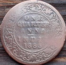 1/4 Анны, 1883 года,Индия, Монета, Монеты, One QuarterAnna 1883, India, Ornament,Орнамент на монете, Королева Вікторія,Victoria, Виктория на монете.