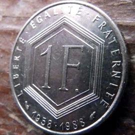 1 Франк, 1988года, Франция,Монета, Монеты, 1 Franc 1988,RepubliqueFrancaise, France,Charles de Gaulle,Шарль де Голль на монете.