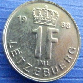 1 Франк, 1988 года, Герцогство Люксембург, Монета, Монеты, 1 Frank 1988, Letzebuerg, Luxembourg,Корона, Crownна монете,Великий герцог Жан на монете.