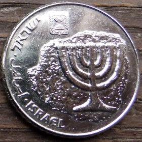 100 Шекелей, 1984года, Израиль, Монета, Монеты, 100 Sheqalim 1984, Israel, Menorah, Emblem of Israel, Менора, Герб Израиляна монете.
