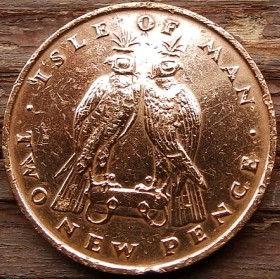 2 Пенса, 1975года, Остров Мэн, Монета, Монеты, 2 Two New Pence 1975, Isle of Man, Fauna, Фауна, Пташка, Bird,Птицана монете,Королева Elizabeth II, Елизавета IIна монете, Второй портрет королевы.