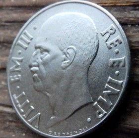 20 Чентезимо, 1940 года, Италия, Монета, Монеты, 20 Centesimi 1940, Italia,Italy,Coat of arms,Герб,Корона, Crown, Сокира,Ax,Топорна монете Обличчя чоловіка,The man's face,Лицо мужчинына монете,Король Виктор Еммануил III на монете.