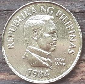 25 Сентимов, 1984 года, Филиппины,Монета, Монеты, 25 Sentimo 1984,Republika ng Pilipinas,Fauna, Butterfly,Фауна, Бабочка на монете,Juan Luna, Хуан Лунана монете.