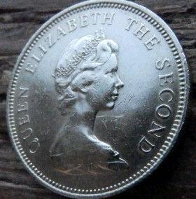 10 Пенсов, 1968 года, Джерси, Монета, Монеты, 10 Ten New Pence 1968, Jersey,Coat of Arms,Герб,Fauna, Фауна,Lions, Львы на монете,Королева Elizabeth II, Елизавета IIна монете, Второй портрет королевы.