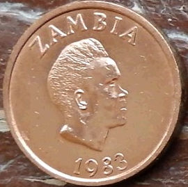 2 Нгве, 1983 года, Замбия,Монета, Монеты, 2 Ngwee 1983, Zambia,Фауна, Птах, Орел, Fauna, Bird, Eagle,Фауна, Птица, Орел на монете, Kenneth David Kaunda,Кеннет Каундана монете.
