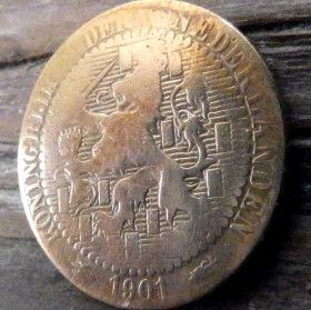 1 Цент, 1901 года, Нидерланды, Монета, Монеты, 1Сent1901, KONINGRIJK DER NEDERLANDEN,Рослинний орнамент,растительный орнамент,floral ornamentна монете,Корона, Crown, Sword,Меч,Фауна, Лев, Lionна монете.