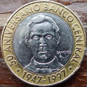 5 Песо, 1997 года, Доминиканская Республика, Монета, Монеты, 5 Pesos 1997, Republica Dominicana,Coat of arms of the Dominican Republic, Герб ДоминиканскойРеспубликина монете,Francisco del Rosario Sanchez,Франсиско дель Росарио Санчес на монете.
