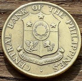 5 Сентаво, 1963 года, Филиппины,Монета, Монеты, 5 Five Centavos 1963, Republic of the Philippines, Blacksmith, Volcano,Кузнец, Вулканна монете,Coat of arms of the Philippines, Герб Филиппинна монете.
