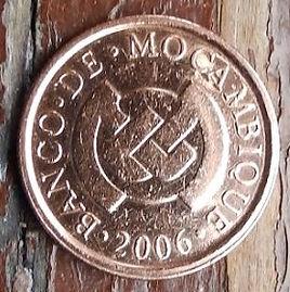 5 Сентаво, 2006 года, Мозамбик,Монета, Монеты, 5 Centavos 2006, Mocambique, Fauna, Leopard,Фауна, Леопард на монете, Bank of Mozambique emblem,Эмблема Банка Мозамбикана монете.
