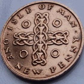 1 Пенни, 1975года, Остров Мэн, Монета, Монеты, 1 One New Penny 1975, Isle of Man, Cross, Крестна монете,Королева Elizabeth II, Елизавета IIна монете, Второй портрет королевы.
