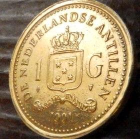 1 Гульден, 1991 года, Нидерландские Антильские острова, Монета, Монеты, 1 Gulden 1991, Nederlandse Antillen,Корона, Crown, Coat of arms of the Netherlands Antilles,Герб Нидерландских Антильских острововна монете,КоролеваBeatrix,Беатріксна монете.