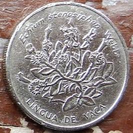 10 Эскудо, 1994 года, Кабо-Верде,Монета, Монеты, 10 Escudos 1994, Republica de Cabo Verde,Emblem of Cape Verde,Эмблема Кабо-Вердена монете,Флора, Квітка, Ехій стенозофон, Flora, Flower, Echium Stenosiphon на монете.