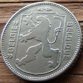 1 Франк, 1944 года, Королевство Бельгия, Монета, Монеты, 1 Franc 1944, Belgium, Belgique, Belgie, Корона, Crown,Фауна, Лев, Lion.