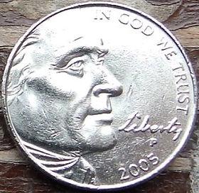 5 Центов, 2005 года,Соединенные Штаты Америки, Монета, Монеты, 5 Five Cents 2005,The United States of America,Ocean view,Вид на океанна монете, President Thomas Jefferson, Президент Томас Джефферсонна монете.