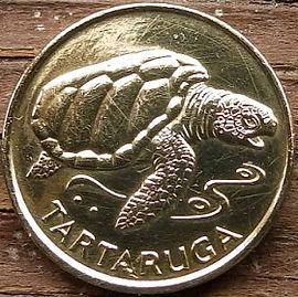 1 Эскудо, 1994 года, Кабо-Верде,Монета, Монеты, 1 Escudo1994, Republica de Cabo Verde, Fauna, Turtle, Tartaruga,Фауна, Черепаха на монете, Emblem of Cape Verde,Эмблема Кабо-Вердена монете.