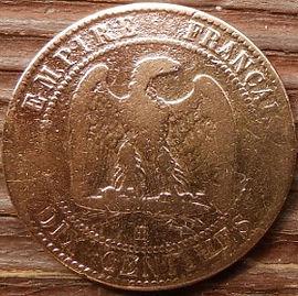 10 Сантимов, 1853 года, Франция,Монета, Монеты, 10 Dix Centimes 1853,EMPIRE FRANCAIS, France,Coat of arms,Герб, Fauna, Фауна,Пташка, Bird,Птица, Eagle, Орел на монете, Император Наполеон III на монете.